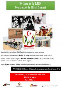Valencia: Acto en conmemoración del 44 aniversario de la proclamación de la República Árabe Saharaui Democrática @ Aula Seminari del Centre Cultural La Nau