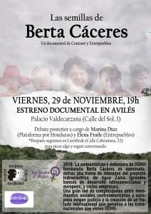 """Aviles: Proyección """"Las semillas de Berta Cáceres"""" @ Palacio de Valdecarzana"""