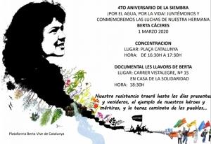 Barcelona: Concentración 4º aniversario de la siembra de Berta Cáceres @ Plaça Catalunya