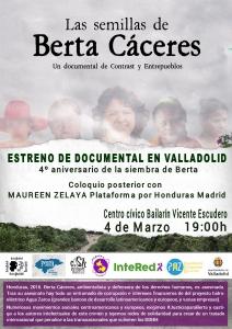 """Valladolid: Estreno """"Las semillas de Berta"""" y posterior coloquio @ Centro cívico Bailarín Vicente Escudero"""