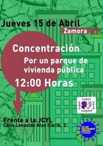 Zamora: Concentración por un parque de vivienda pública @ Frente a JCyL
