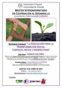 """Seminario-Coloquio """"La educación para la transformación social: contexto, retos y perspectivas"""""""